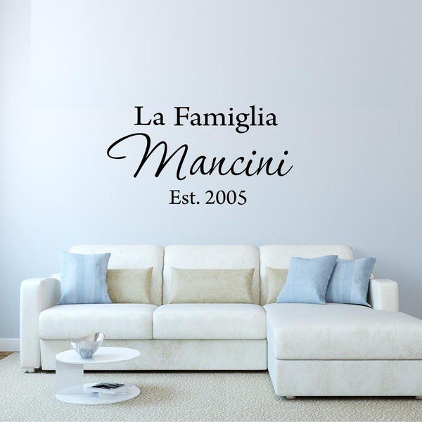 VWAQ La Famiglia Custom Italian Family Name Wall Decal Insert Family Name - VWAQ Vinyl Wall Art Quotes and Prints