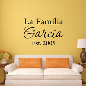 Family Name in Spanish Wall Decal