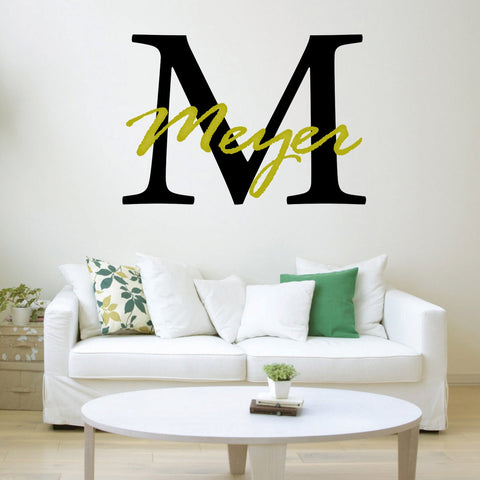 VWAQ Monogram Wall Decal Custom Family Name Personalized Family Name With Letter Initial CS5 - VWAQ Vinyl Wall Art Quotes and Prints