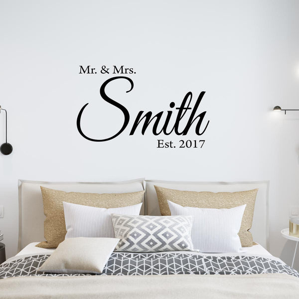 VWAQ Mr. & Mrs. Custom Wall Decal with Date Established -Insert Name- Personalized Wedding Decal - VWAQ Vinyl Wall Art Quotes and Prints