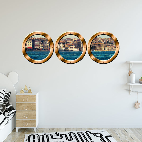 VWAQ Pack of 3 City Skyline Bronze Porthole Peel and Stick Wall Decals - BPW5 - VWAQ Vinyl Wall Art Quotes and Prints