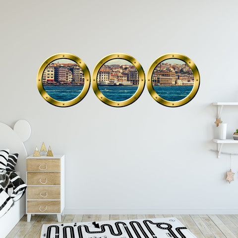 VWAQ Pack of 3 City Skyline Gold Porthole Peel and Stick Wall Decals - GPW5 - VWAQ Vinyl Wall Art Quotes and Prints