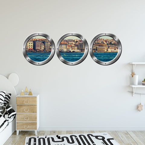 VWAQ Pack of 3 City Skyline Silver Porthole Peel and Stick Wall Decals - SPW5 - VWAQ Vinyl Wall Art Quotes and Prints