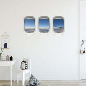 VWAQ Pack of 3 Airplane Window Wings Peel and Stick Vinyl Wall Decal
