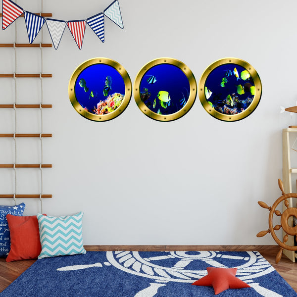 VWAQ Pack of 3 Underwater Fish Peel and Stick Silver Window Porthole Wall Decals - SPW18 - VWAQ Vinyl Wall Art Quotes and Prints