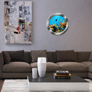VWAQ Underwater Shool of Fish Silver Window Porthole View Peel and Stick Wall Decal - SP19