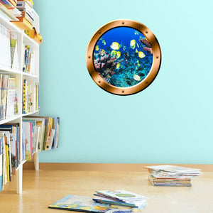 VWAQ Coral Reef Fish View Bronze Porthole Peel and Stick Vinyl Wall Decal - BP16 - VWAQ Vinyl Wall Art Quotes and Prints
