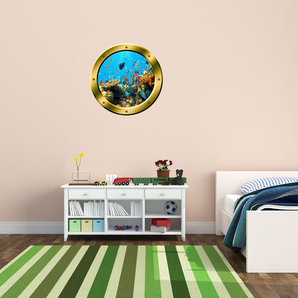 VWAQ Underwater Shool of Fish Gold Window Porthole Peel and Stick Vinyl Wall Decal - GP19