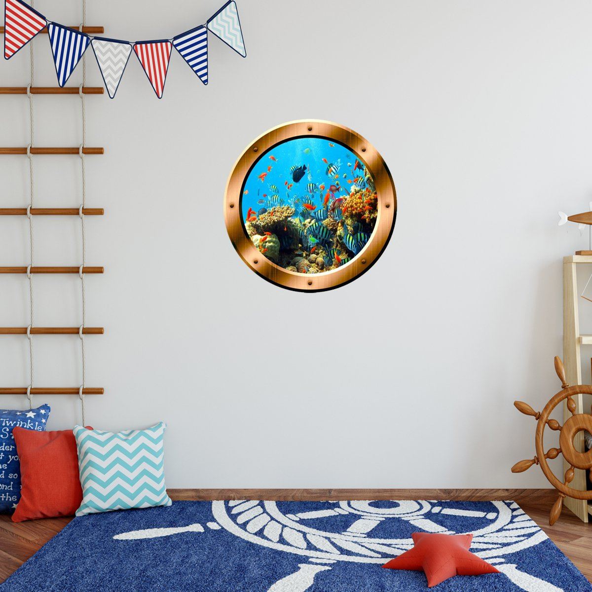 VWAQ Coral Reef Wall Sticker Porthole Underwater School Of Fish Wall Decal Home Decor - BP19 - VWAQ Vinyl Wall Art Quotes and Prints