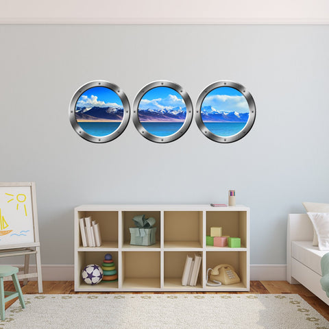 VWAQ Cruise Ship Mountain View Silver Window Porthole Wall Decals - SPW10 - VWAQ Vinyl Wall Art Quotes and Prints