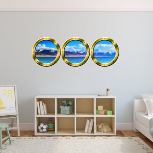 VWAQ Cruise Ship Mountain View Gold Window Porthole Wall Decals - GPW10 - VWAQ Vinyl Wall Art Quotes and Prints
