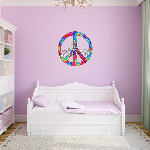 Tie Dye Peace Sign with Custom Name Wall Decal