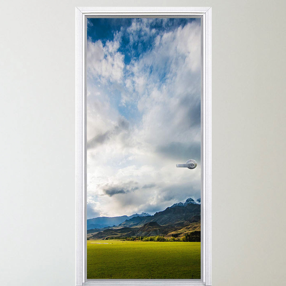 VWAQ Mountain Range Door Decal- Grass Vinyl Door Mural Decor - DM10