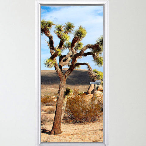 VWAQ Vinyl Desert Door Mural - Joshua Tree Door Wrap Kids Bedroom - DM2