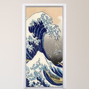 VWAQ The Great Wave Off Kanagawa Door Mural - Japanese - Ocean Door Wrap Decal Decor - DM5
