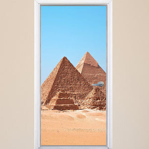 VWAQ Pyramids Of Giza Vinyl Door Wrap - Egypt Mural, Egyptian Door Decor - DM6