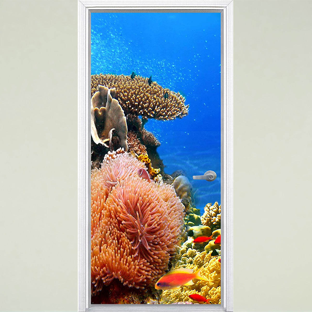 VWAQ Underwater Coral Reef Door Mural - Ocean Vinyl Fish Decal Decor - DM7