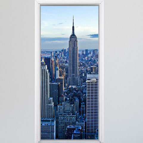 VWAQ New York City Manhattan Vinyl Door Mural - Cityscape Skyline Door Wrap Decal Decor - DM8 - VWAQ Vinyl Wall Art Quotes and Prints