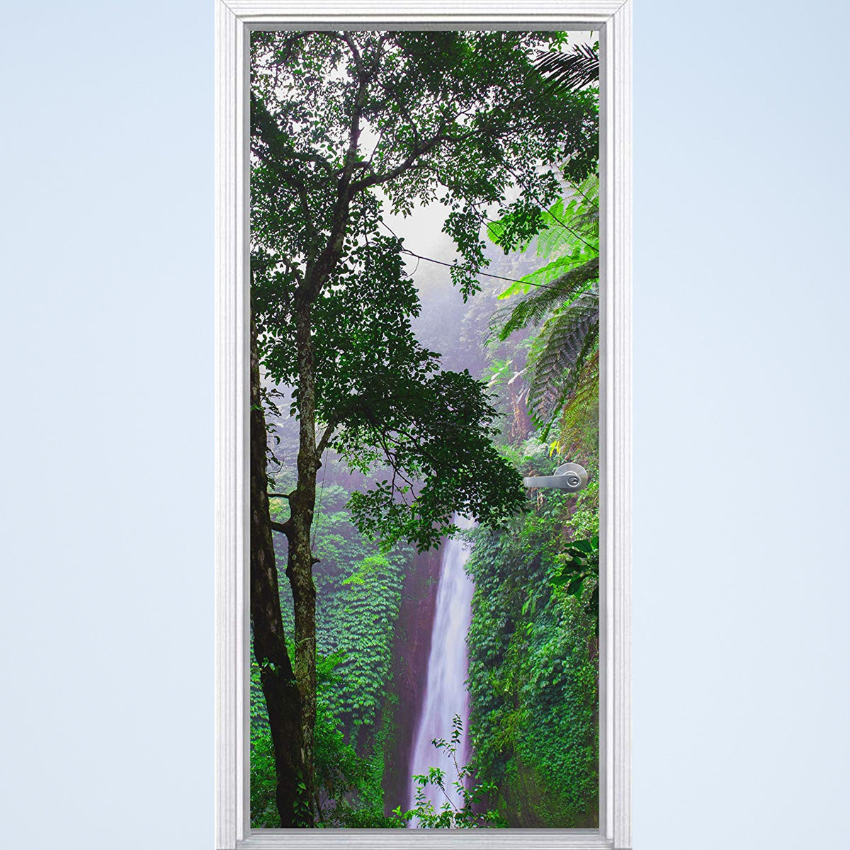VWAQ Waterfall Vinyl Door Mural - Jungle Rainforest Door Wrap Decal Decor - DM9 - VWAQ Vinyl Wall Art Quotes and Prints