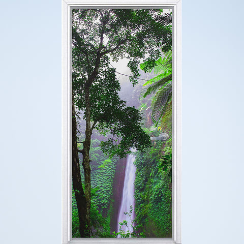 VWAQ Waterfall Vinyl Door Mural - Jungle Rainforest Door Wrap Decal Decor - DM9