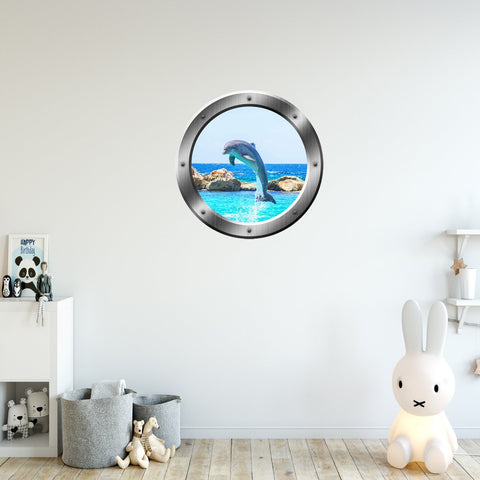 VWAQ Dolphin Breaching Silver Porthole Peel and Stick Vinyl Wall Decal - SP30 - VWAQ Vinyl Wall Art Quotes and Prints