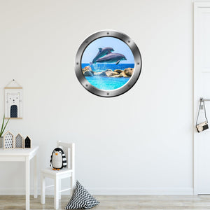 VWAQ Dolphins Breaching Peel and Stick Silver Porthole Vinyl Wall Decal - SP27 - VWAQ Vinyl Wall Art Quotes and Prints