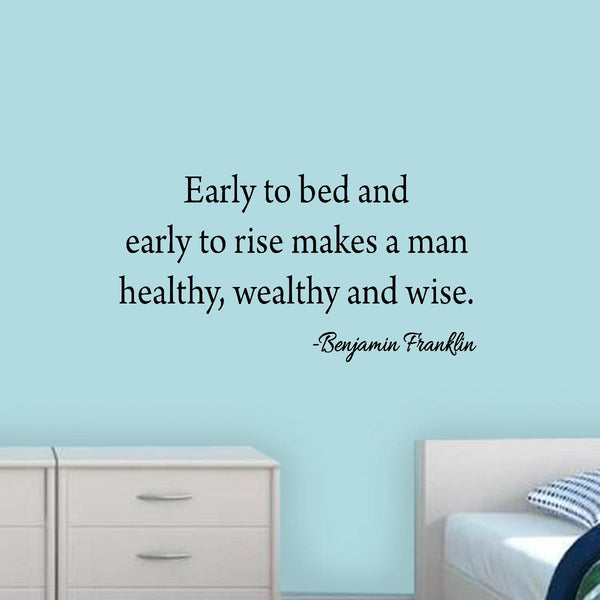 VWAQ Early to Bed and Early to Rise Ben Franklin Wall Quotes Decal - VWAQ Vinyl Wall Art Quotes and Prints