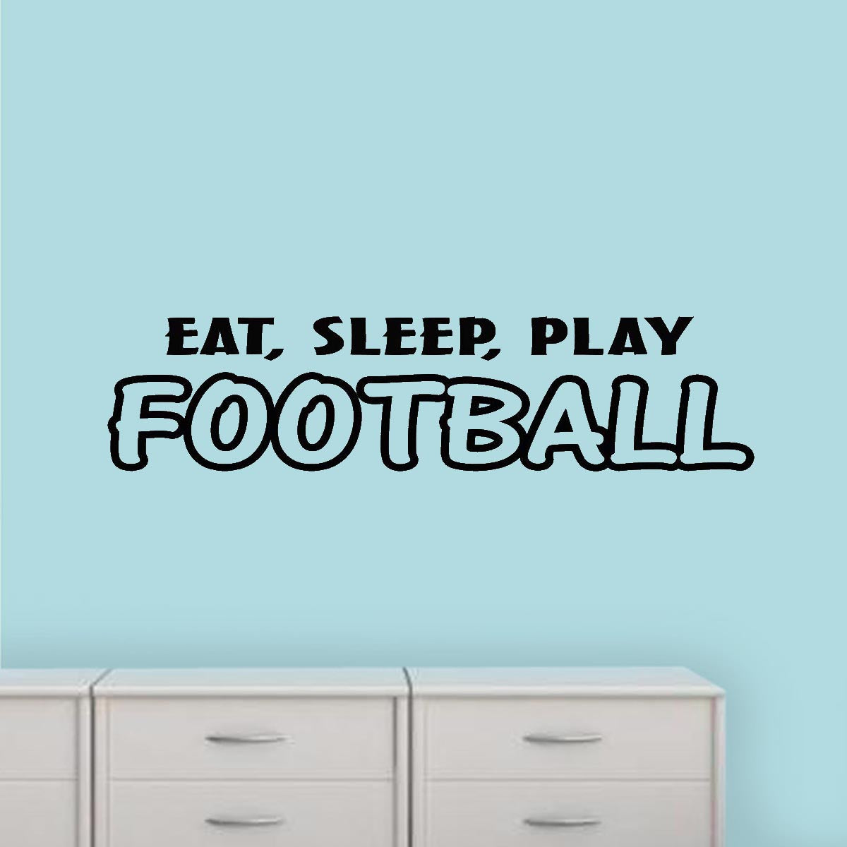 Eat Sleep Football Repeat Sports Quote Wall Sticker WS-43034