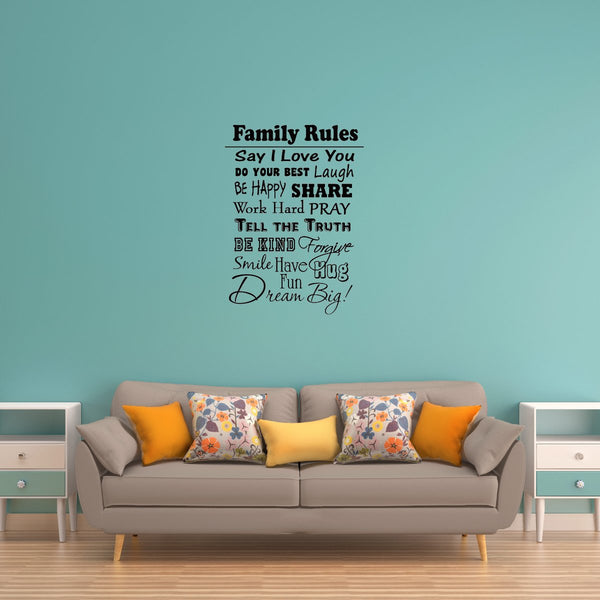 VWAQ Family Rules Wall Decal - VWAQ Vinyl Wall Art Quotes and Prints