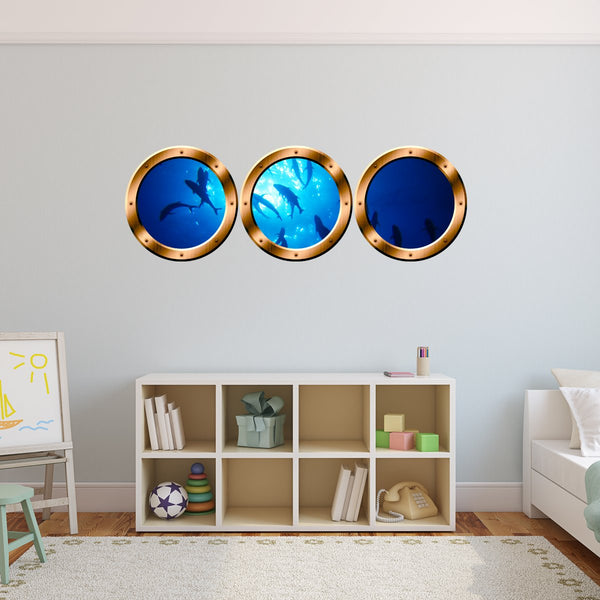 VWAQ Peel & Stick Submarine Porthole Windows Ocean Underwater Scene - SPW17 - VWAQ Vinyl Wall Art Quotes and Prints