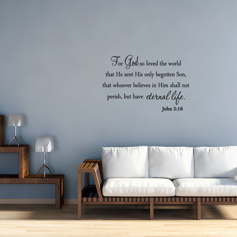 VWAQ For God So Loved The World John 3:16 Wall Decal - VWAQ Vinyl Wall Art Quotes and Prints