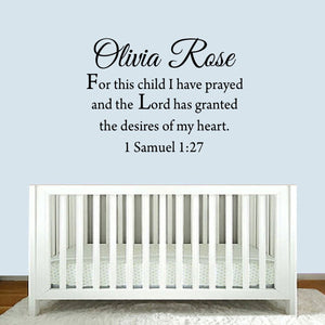 VWAQ For This Child I Have Prayed Custom Name Wall Decal - VWAQ Vinyl Wall Art Quotes and Prints