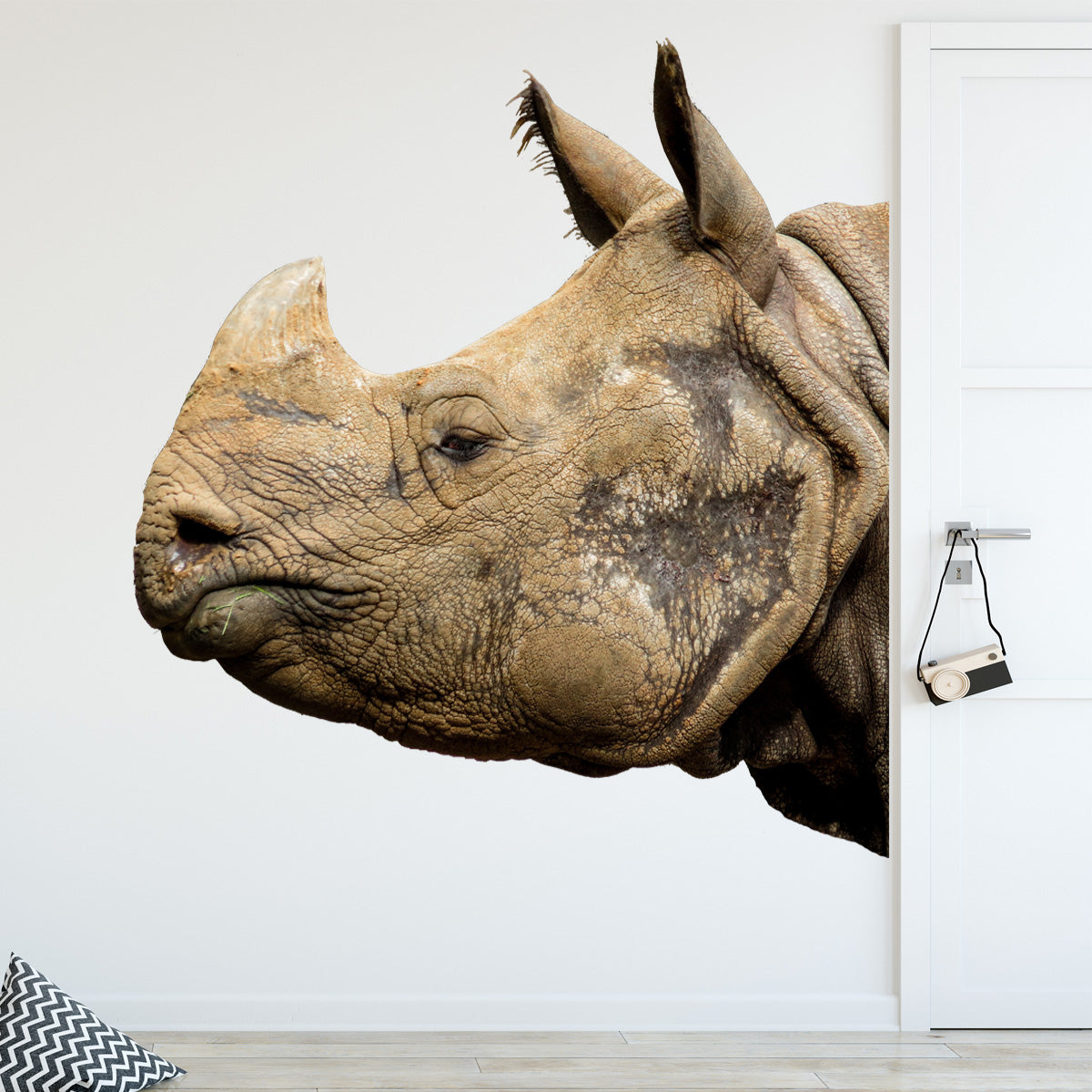 VWAQ Rhino Head Peel and Stick Vinyl Wall Decal - G506