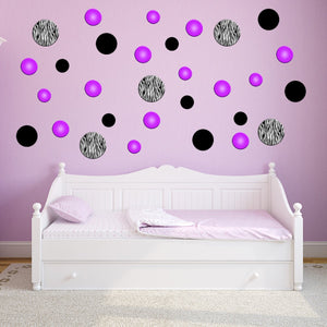 VWAQ Zebra Stripe assorted Polka Dots Peel and Stick Vinyl Wall Decals (GD3)