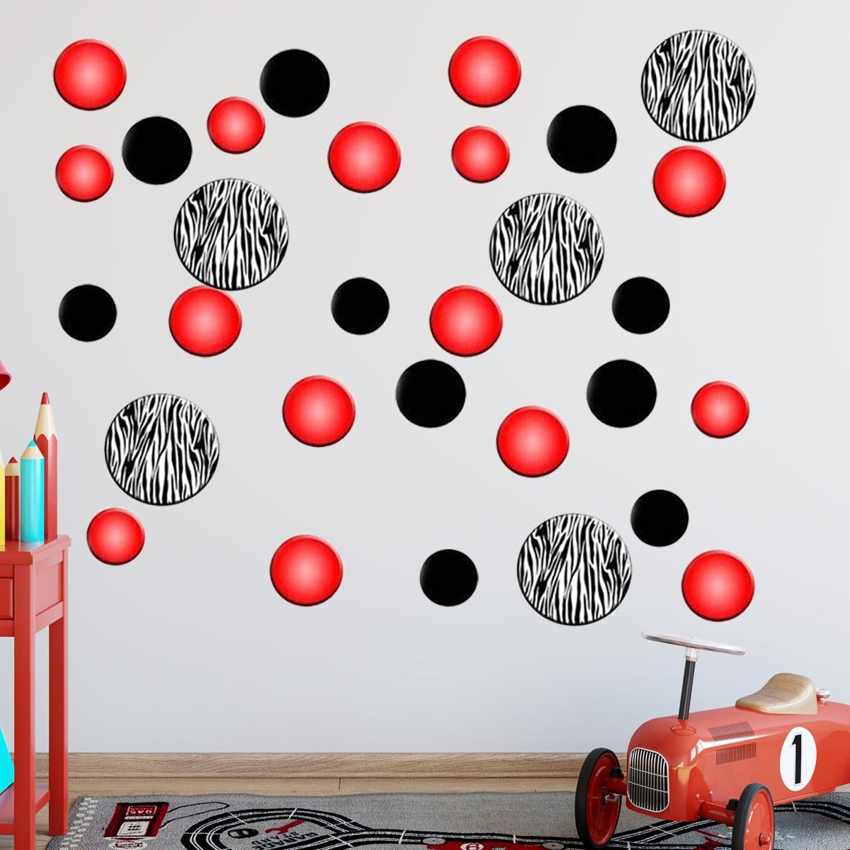Zebra Stripe Polka Dots Red Decals