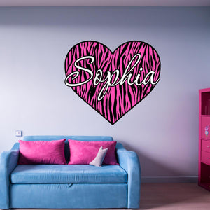 Pink Personalized Zebra Stripe Heart Name Vinyl Wall Decal