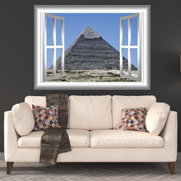 VWAQ Pyramid of Giza Egypt Window Frame View Peel and Stick Vinyl Wall Decal - GJ100