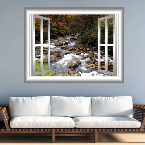 VWAQ Rocky Mountain Stream Window Frame Peel and Stick Vinyl Wall Decal - GJ401 - VWAQ Vinyl Wall Art Quotes and Prints
