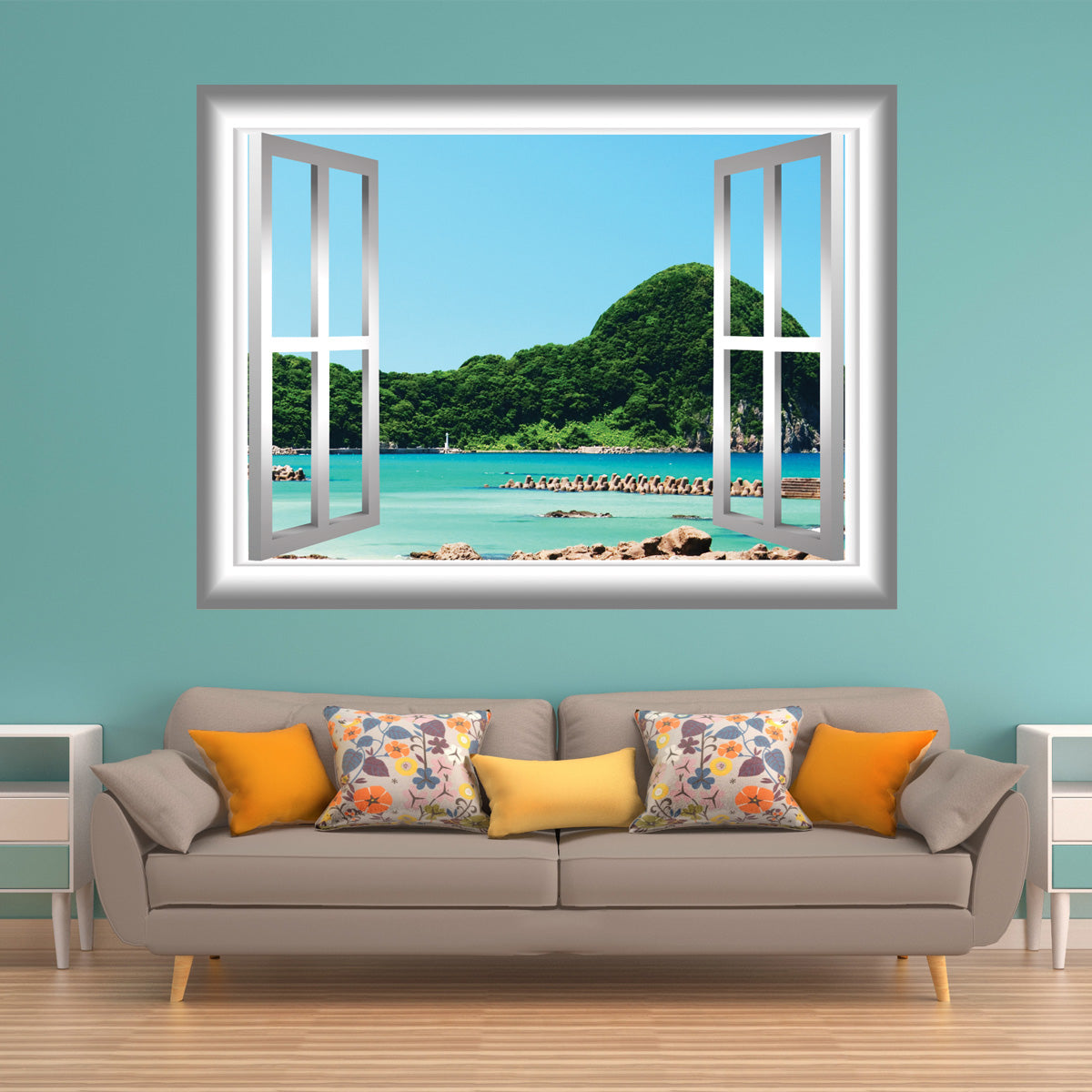VWAQ Peel and Stick Beach Lagoon with Trees View Window Frame Vinyl Wall Decal - GJ90