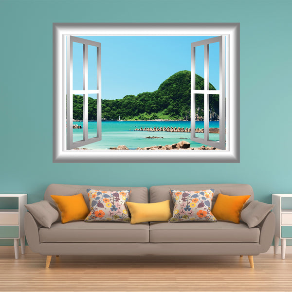 VWAQ Peel and Stick Beach Lagoon with Trees View Window Frame Vinyl Wall Decal - GJ90 - VWAQ Vinyl Wall Art Quotes and Prints