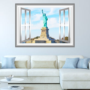 VWAQ Peel and Stick Statue of Liberty Window Frame View Vinyl Wall Decal - GJ94 - VWAQ Vinyl Wall Art Quotes and Prints