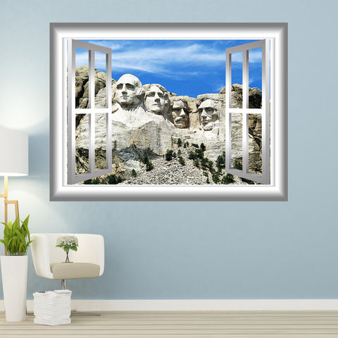 VWAQ Mount Rushmore Window Frame Peel and Stick Wall Decal - GJ97 - VWAQ Vinyl Wall Art Quotes and Prints