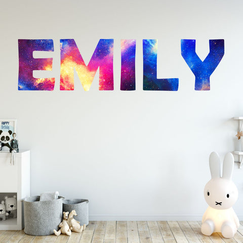 Personalized Outer Space Name Wall Decal Galaxy Kids Room Name Wall Decal
