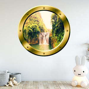 VWAQ Waterfall View Bronze Porthole Peel And Stick Vinyl Wall Decal - GP13