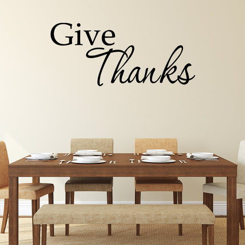 VWAQ Give Thanks Vinyl Wall Decal - VWAQ Vinyl Wall Art Quotes and Prints