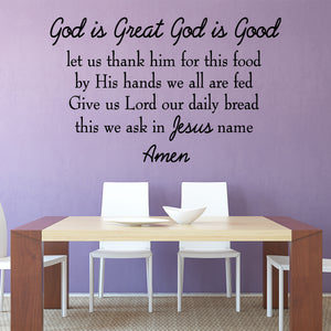 VWAQ God is Great God is Good Let Us Thank Him For This Food Wall Decal Full Version VWAQ-4538 - VWAQ Vinyl Wall Art Quotes and Prints
