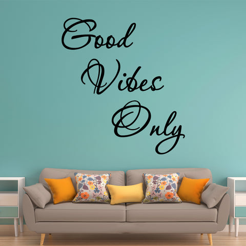 VWAQ Good Vibes Only Vinyl Wall Sticker - Inspiring Wall Decals Quotes, Motivating Wall Art Decor - VWAQ Vinyl Wall Art Quotes and Prints