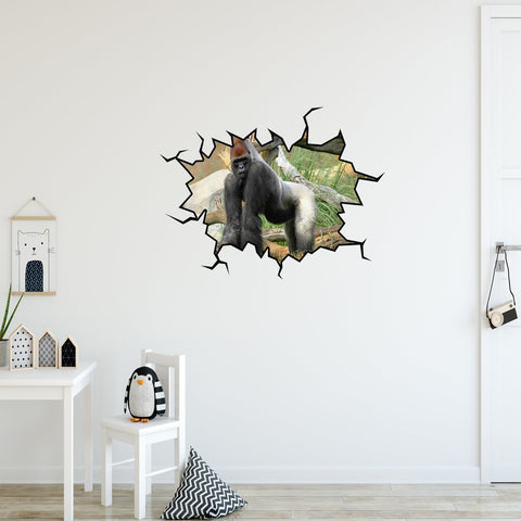 VWAQ Gorilla Wall Crack Decal Peel & Stick Silverback Gorilla Wall Art Decor - WC29 - VWAQ Vinyl Wall Art Quotes and Prints