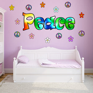 VWAQ Tie Dye Peace Vinyl Wall Decal Peace Signs And Flowers Stickers - HF2