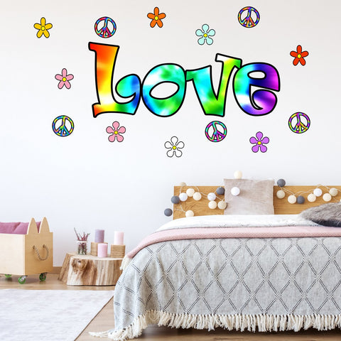 70's Tie Dye Love Peace Retro Flowers Peel and Stick Vinyl Wall Decals - HF3 - VWAQ Vinyl Wall Art Quotes and Prints